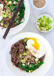 thanksgiving egg noodles soba noodle bowls with spinach and poached eggs recipe
