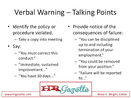 how to deliver a verbal warning to an employee plus talking points
