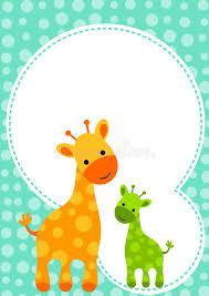 babyparty giraffen einladungs karte lizenzfreies stockfoto bild