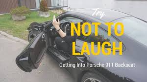 porsche 911 back seat try not to laugh getting into porsche 911 backseat