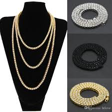 black rhinestone necklace images Online cheap men 39 s hip hop rhinestone necklace gold silver black jpg