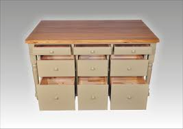 ornate square wooden butcher block island with open shelves and