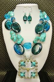 turquoise necklace sets images Longhorn blue western cowgirl necklace set howlite turquoise png