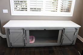 Dog Crate Furniture Bench Rustic Dog Crate Sliding Barn Doors Fully Custom Dog