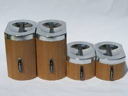 metal kitchen canisters retro mod 60s wood grain vintage kromex metal kitchen canisters