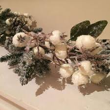gisela graham frosted fir cone and white berry garland duck barn