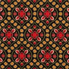 designer fabric black designer fabric with red gold flower ornaments ornament