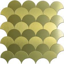 Sheets Fanshaped Metal Mosaic Gold Peel N Stick Backsplashes Tiles - Peel n stick backsplash