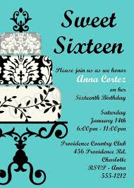 tiffany blue sweet 16 sixteen birthday invitations quinceanera