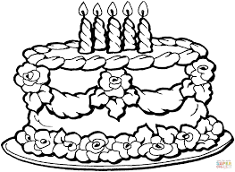 free printable birthday cake coloring pages for kids with page of