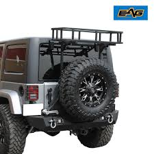 jeep rear bumper black rear cargo basket rear bumper with tire carrier for 07 17