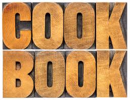 mot de cuisine abrégé sur mot de livre de cuisine dans le type en bois photo