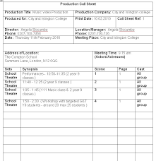 Music Video Production Companies Ps Music Production Production Call Sheet