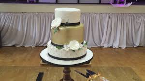 3 tier gold and white wedding cake youtube