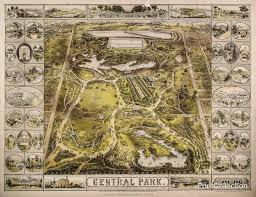 Map Central Park Print Collection Aerial Map View Of Central Park 1863