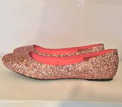Prom Shoes Flats Sparkly Rose Gold Pink Glitter Ballet Flats Wedding Bride Prom