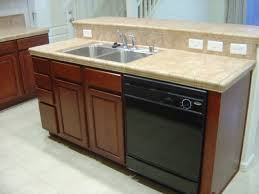 wood countertops kitchen island with dishwasher lighting flooring
