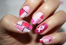 pink colourblock nails for breast cancer awareness month