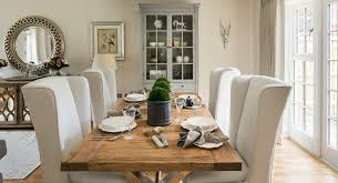 Farmhouse Style Dining Chairs Animal End Tables Dining Room Farmhouse With Neutral Colors Gray
