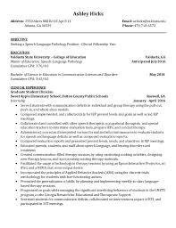 Sample Speech Pathologist Resume by Speech Pathology Resume For Grad Contegri Com