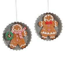 raz 4 gingerbread cookie in pie tin ornaments set of 2 pie tin