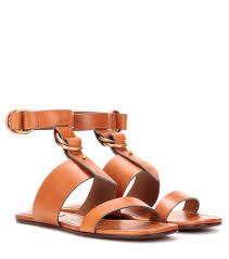 chloé kingsley flat leather sandals brown women chloe sandals sale