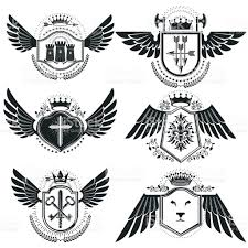 heraldic designs vector vintage emblems coat of arms collection