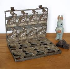vintage metal easter standing bunny rabbit in a dress chocolate