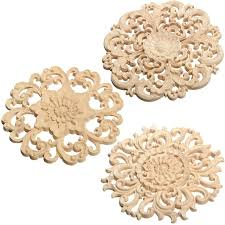 Decorative Crafts For Home Best Price 15cm Floral Wood Carved Corner Woodcarving Decal Onlay