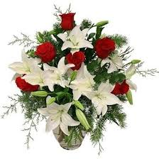 Roses And Lilies Elegance Vase Of Red Roses And Lilies Florence Angel