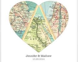 newlywed gift map heart unique wedding gift for heart
