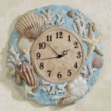 down at the beach blue seashell wall clock