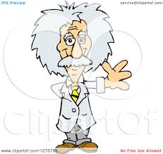 clipart of a senior scientist albert einstein waving royalty