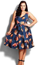 city chic u0027silver floral u0027 fit u0026 flare dress plus size available