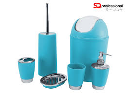 bathroom accessory set blue