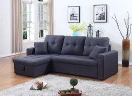 Futon Couch With Storage 2 Pc Gray Fabric Sectional With Storage Chaise And Pull Out Bed
