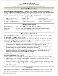 Resume Format Pdf For Computer Operator by Sample Computer Programmer Resume Peoplesoft Administrator Cover