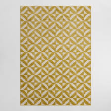 Yellow And White Outdoor Rug 4 9 X6 9 Yellow And White Geo Flatweave Indoor Outdoor Rug