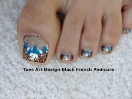 toes art design tutorial beginners french pedicure black bronze