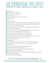 printable list of 31 things to do to a better day this