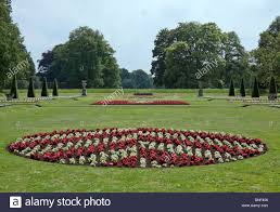 the formal garden in french chateau design at castle de haar stock