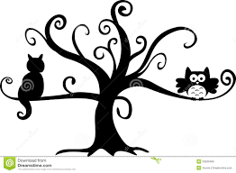 Scary Halloween Pictures To Draw Halloween Night Owl And Cat In Tree Royalty Free Stock Images