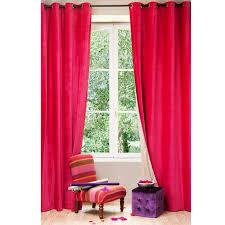 velvet linen double sided eyelet curtain in fuchsia and beige 140 x 300cm