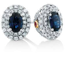 designer stud earrings michael hill designer stud earrings with sapphire 1 2 carat tw