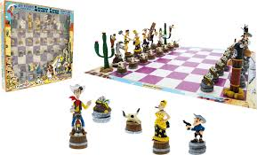 chess set with lucky luke figures from plastoy 69001 bd addik