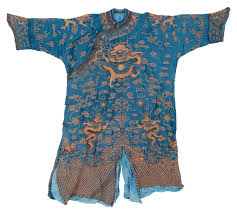 china blue silk robe with gold threads embroidered