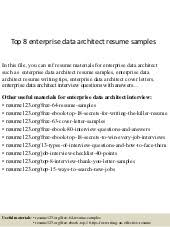 Data Architect Resume Top 8 Enterprise Data Architect Resume Samples
