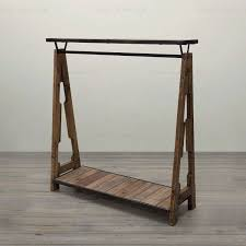 special combination of retro clothing racks wrought iron wood