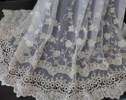 Lace Fabric For Curtains Beige Lace Fabric Etsy