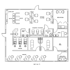 salon u0026 spa design cad layout 1967 square foot